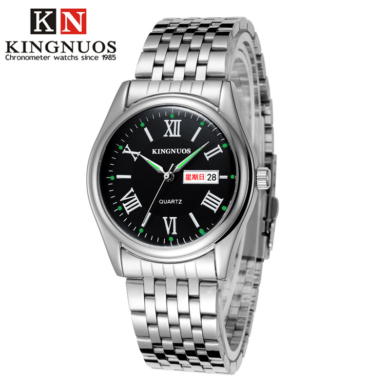 KINGNUOS Brand Fashion Mens Wristwatch Roman Numerals Auto Date Male Watch Casual Stainless Steel Strap Quartz Watches Relogio