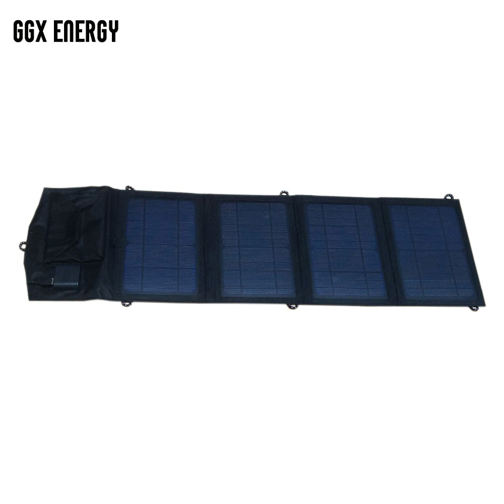 GGX ENERGY 14 Watt Mono Foldable Solar Panels Dual Port USB 5V 2 1A Portable Solar