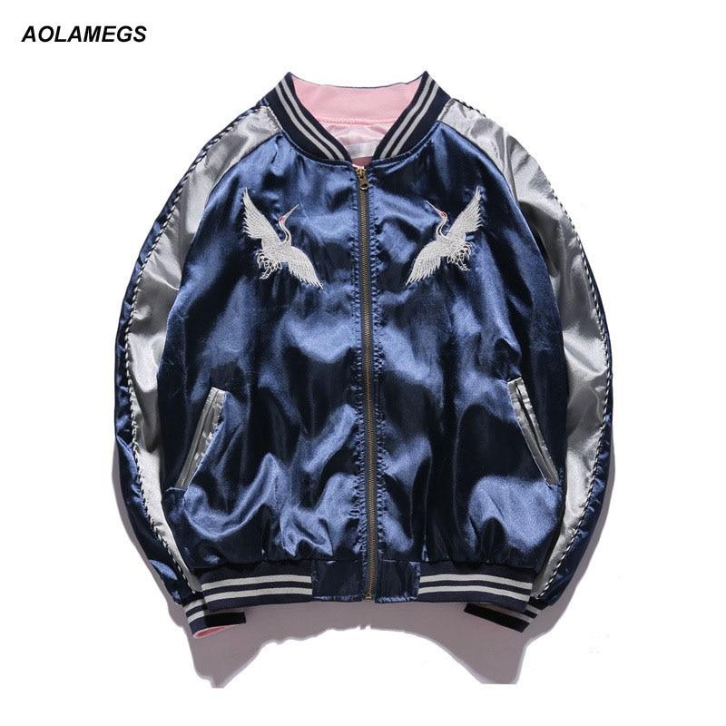 Aolamegs Япония Йокосука куртка мужская женская унисекс модная куртка-бомбер кран птица вышивка бейсбольная форма одежда уличная