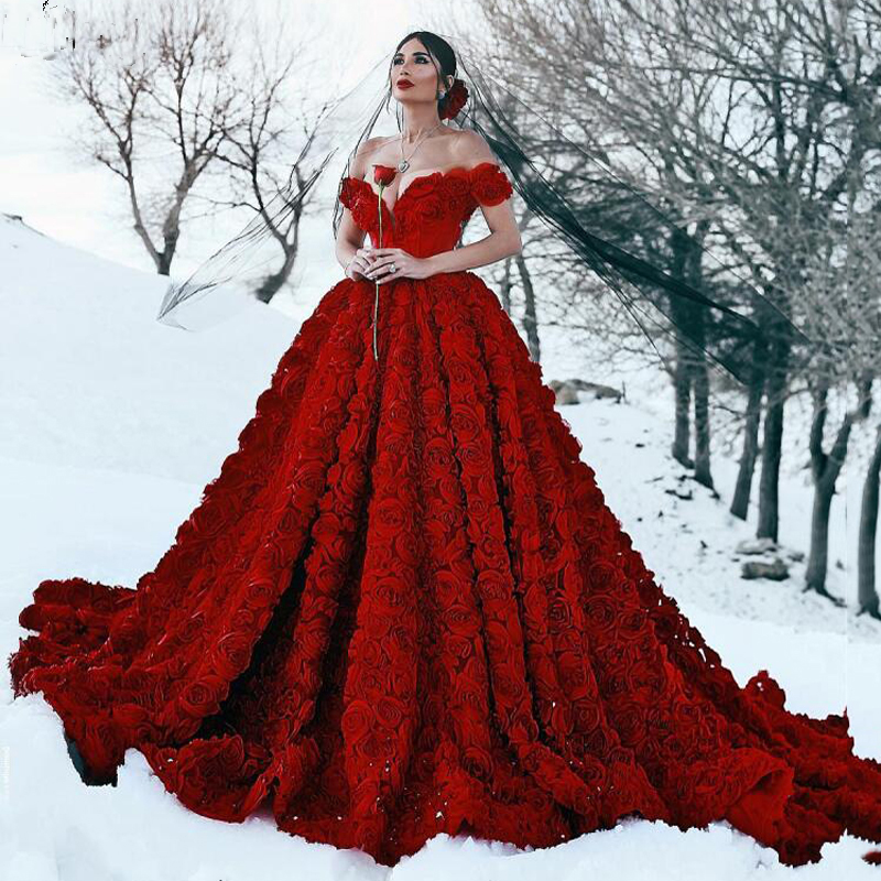 Gorgeous Dark Red 3D Flowers Pleated Ball Gown Wedding Dresses for Party Custom Made Bridal Gowns Unique Maxi