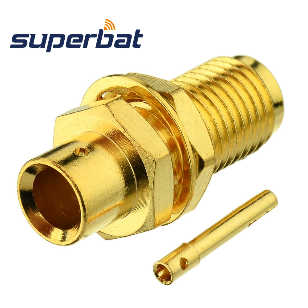 Superbat Extreme Release Bulkhead SMA Male Plug Straight Connector For Semi-rigid Cable .141'' , RG402 Cable Mount