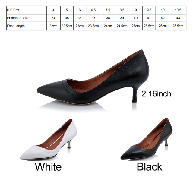 FOREADA Genuine Leather Shoes Women High Heels Pointed Toe Office Lady Work Shoes Natural Real Leather Pumps Black White 34-40 10