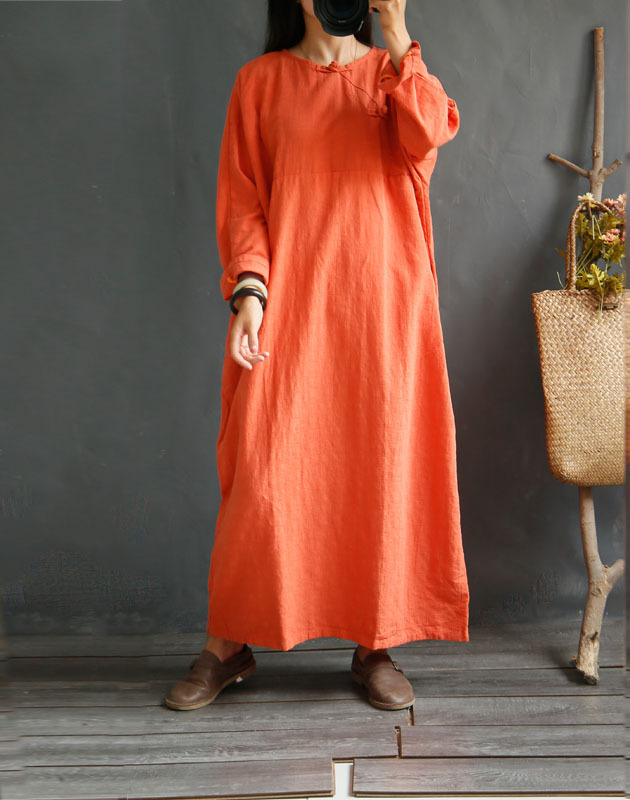 3 Solid Color Handmade Frog Button Straight Loose Long Sleeve Ramie Linen Dress, Spring Autumn High Quality Mid-thick Large Robe