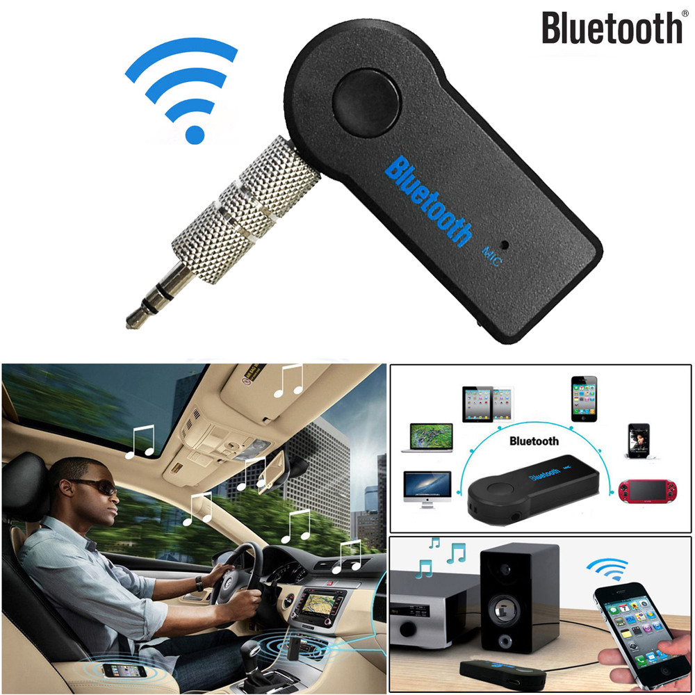 Leagway Bluetooth Receiver Hands-Free Car Kits Wireless Audio Adapter with 3.5mm Stereo Output A2DP Music Streaming Car Kit for Car AUX in Home Speaker MP3 with Mic