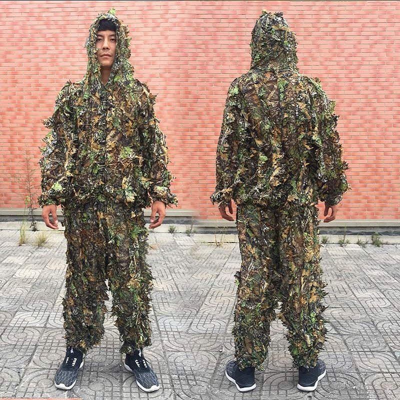 Men Women Kids Outdoor Ghillie Suit Camouflage Clothes Jungle Suit CS Training Leaves Clothing Hunting Suit Pants Hooded Jacket