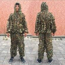 男性女性子供屋外のghillieスーツ迷彩服ジャングルスーツcsトレーニング葉服狩猟スーツパンツフードジャケット