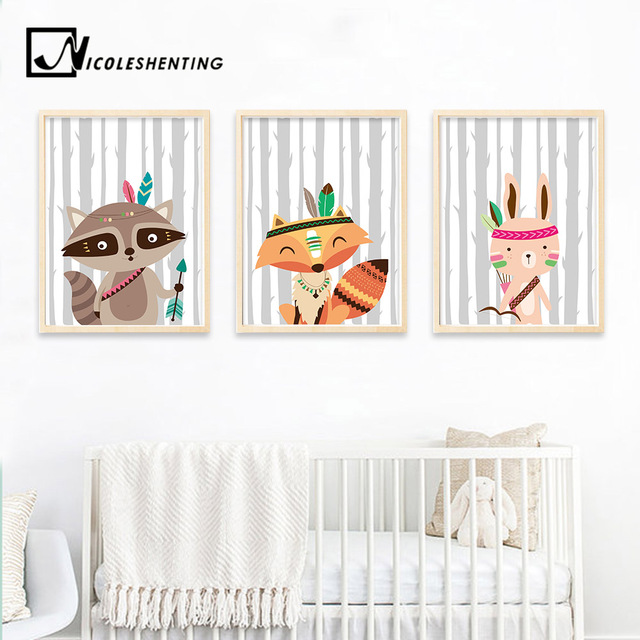 Tribe Woodland Animal Bear Fox Wall Art Canvas Nordic Poster Nursery Prints Cartoon Painting Picture Baby