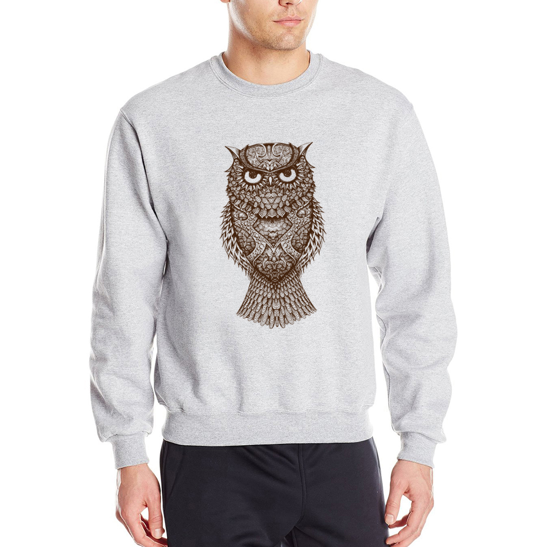 Animal Owl Printed Men Sweatshirts Hoodies 2019 New Spring Autumn For Male Hip Hop Sweatshirt Fleece Casual Men's Hooded CM01