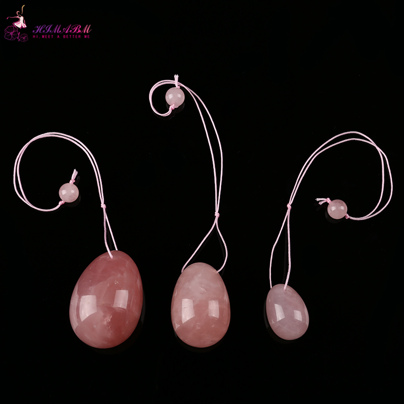 HIMABM Natural Rose Quartz jade egg for Kegel Exercise 3pcs in one sets pelvic floor muscles vaginal exercise yoni ben wa ball in Massage Relaxation from Beauty Health