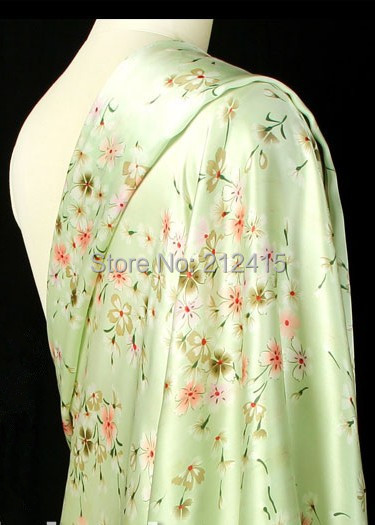 Free shipping  100% mulberry silk fabric nature pure charmuse silk print fabric for dress bedding scraf  two colors #LS0785