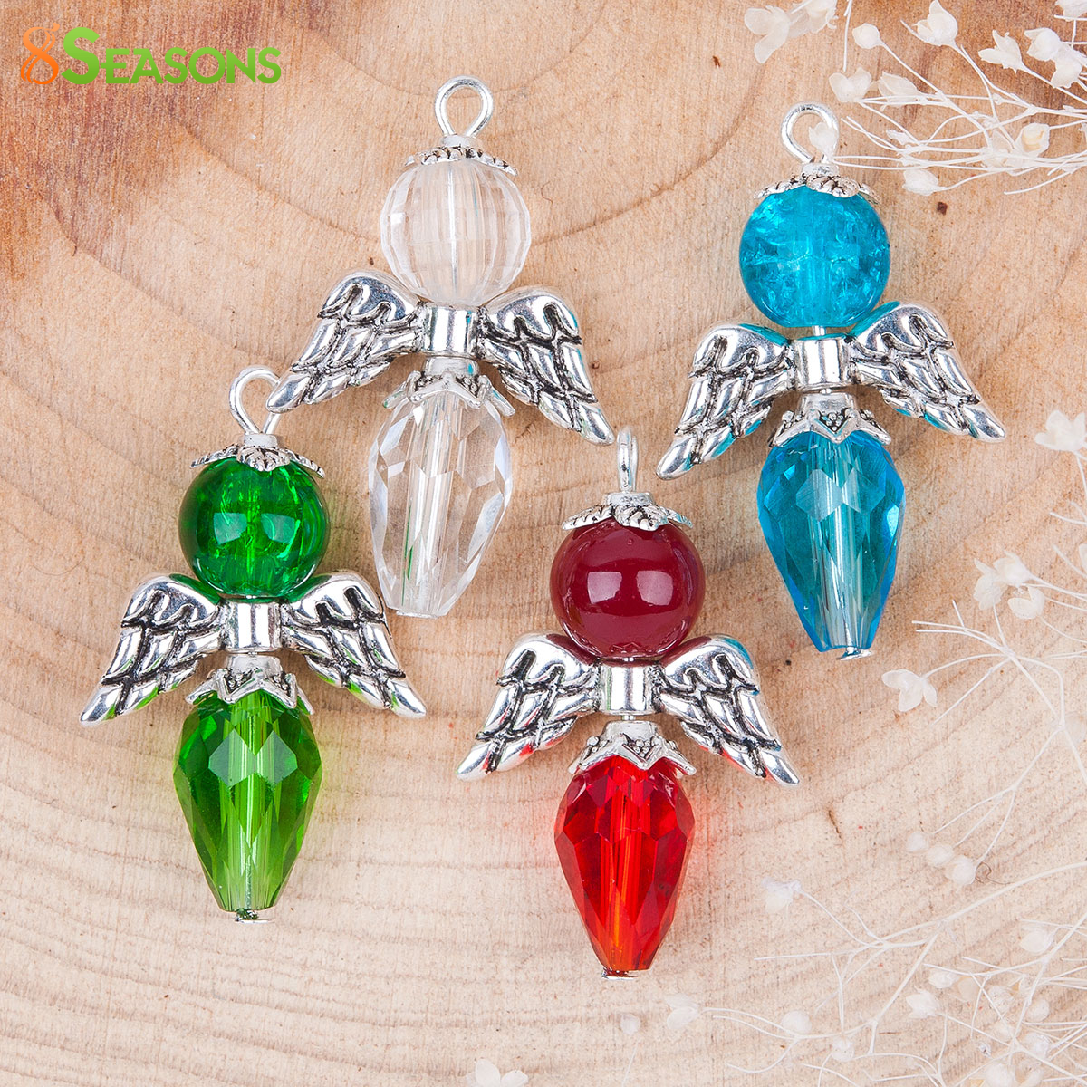 8SEASONS Trendy Glass Guardian Angel Wing Charms Pendants Mixed antique silver-color With Round Acrylic Bead 30mm x 19mm,1 Set