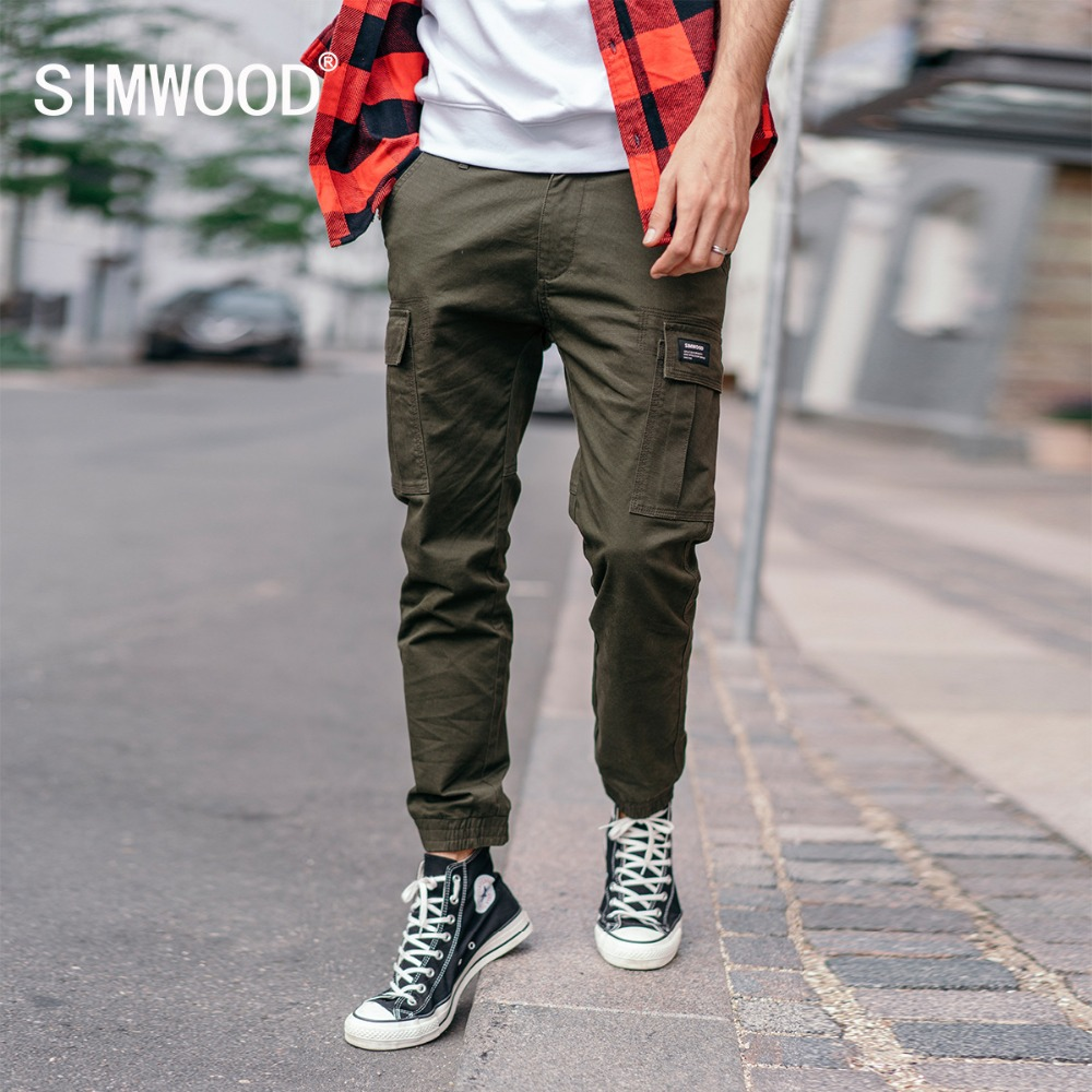 SIMWOOD New 2020 Spring Pants Men Fashion Slim Ankle-Length Joggers Pants Male Brand Casual Trousers Free Shipping 180488