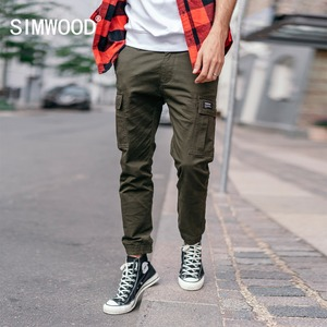 Image 1 - SIMWOOD New 2020 spring Pants Men Fashion Slim Ankle Length Joggers Pants Male Brand Casual Trousers Free Shipping 180488
