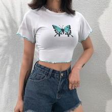 Butterfly Print White Crop Top Harajuku Short Sleeve Tshirts Women Basic Streetwear T-Shirt