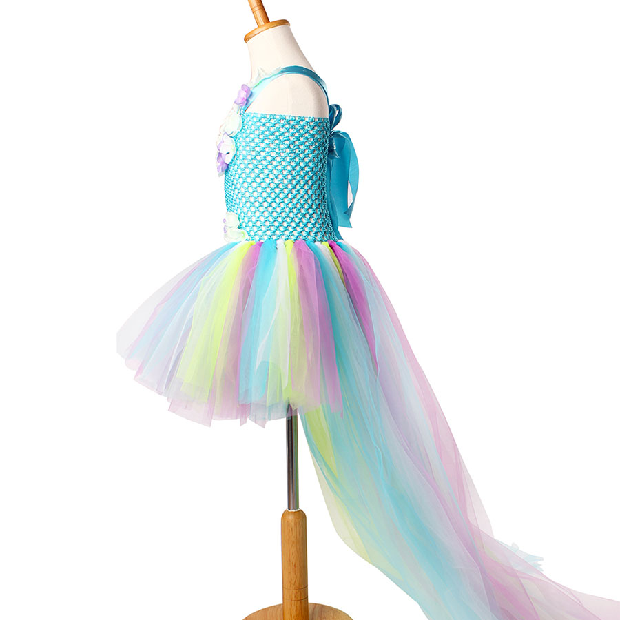 Kids Princess Multi Colored Flowers Long Tail Tutu Dress Baby Girls (5)