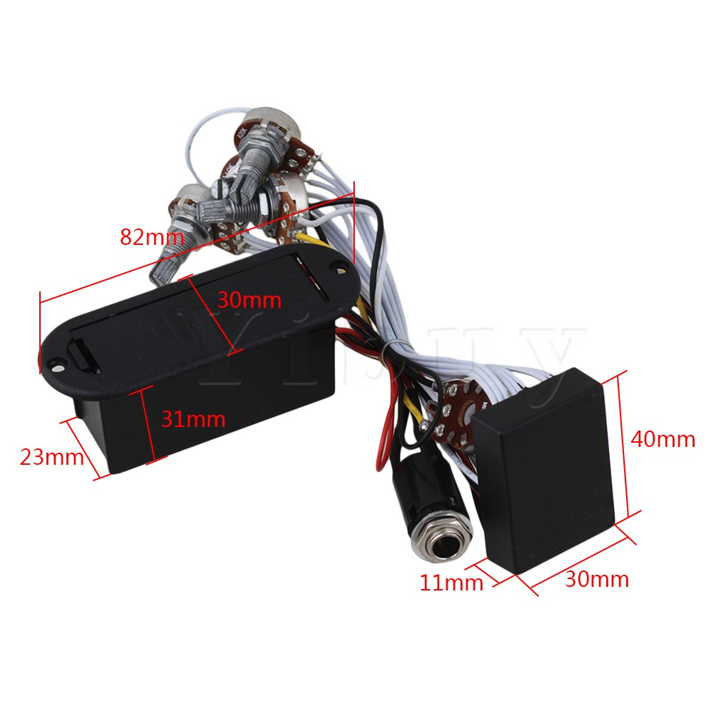 Yibuy Active Preamp 3 Band Equalizer Eq Harness Guitar Bass Tone Control System In Parts Accessories From Sports Entertainment On