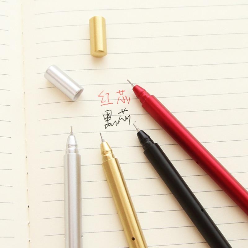 5pcs /lot creative metal handle gel pen writing pen stationery canetas material escolar school supplies papelaria