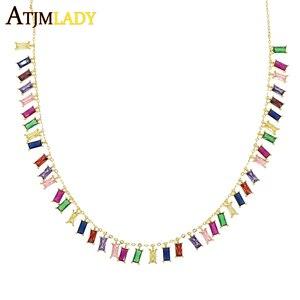 Image 2 - 2019 wysokiej jakości rainbow bagietka cz kolorowe geometryczne wiszące choker naszyjnik kolorowe rainbow Gold filled kobiety moda prezent