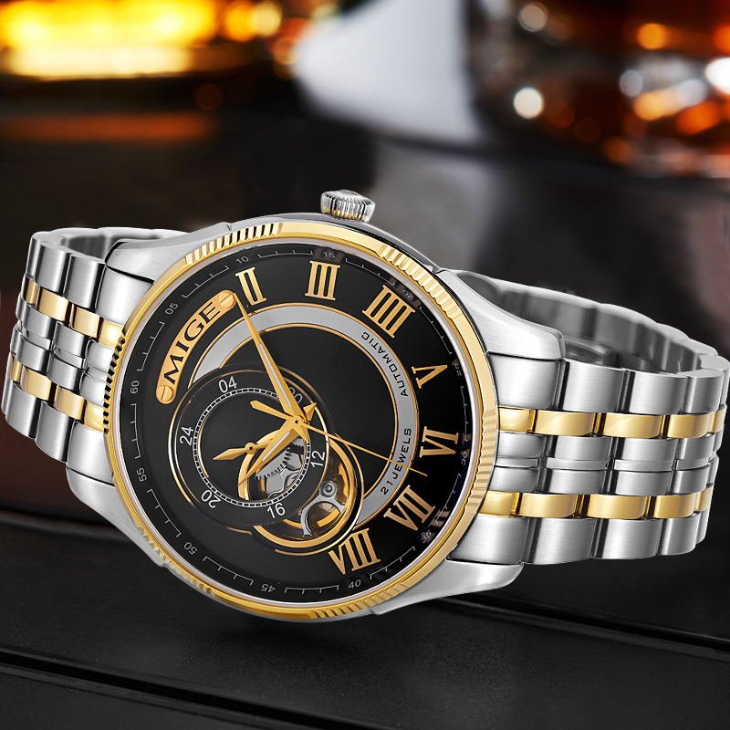 2018 Real New Sale Skeleton Mecánico Hombre Reloj Negro Blanco Acero - Relojes para hombres - foto 2