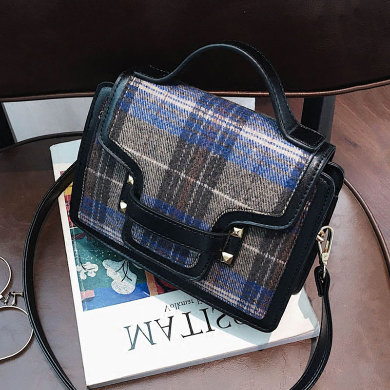 ETAILL 2018 Women Plaid Chain Flap Shoulder Bag Small Quilted Pu Leather&Canvas Handbag Ladies Luxury Brand Rivet Crossbody Bag yuanyu 2018 new hot free shipping true python leather women single shoulder small real snake leather small sweet women chain bag