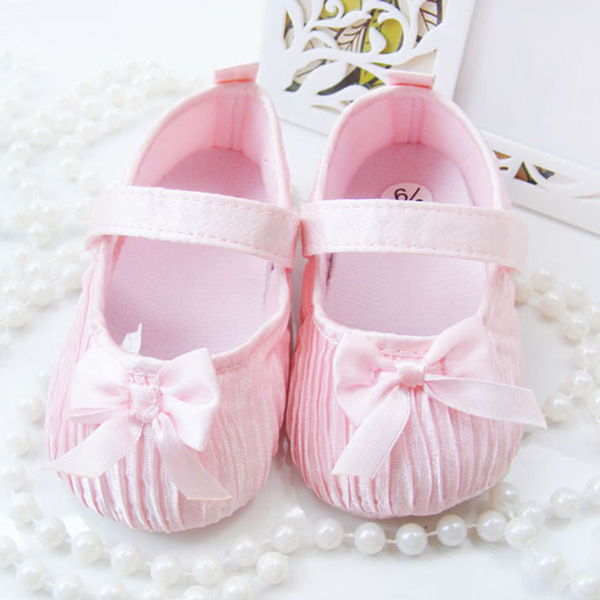 First Walkers New Sweet Newborn Baby Girls Princess Polka Dot Big Bow Infant Toddler Ballet Dress Soft Soled Anti-slip Shoes Footwear P1