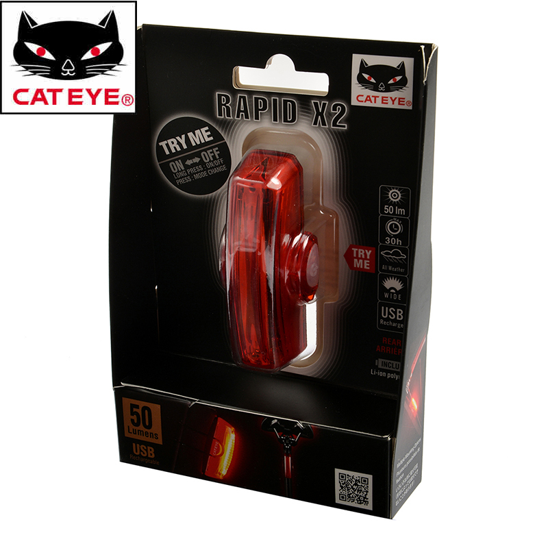 CATEYE USB-rechargeable Rapid X2 Bicycle Taillight MTB Bike Tail Light 6  Modes Night Cycling
