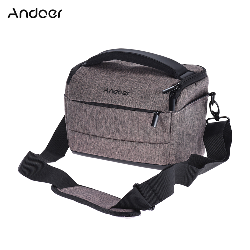 Andoer DSLR Camera Bag Case Photo Bag w/ Shoulder Strap for Canon Nikon Sony FujiFilm Olympus Panasonic DSLR Cameras +Rain Cover