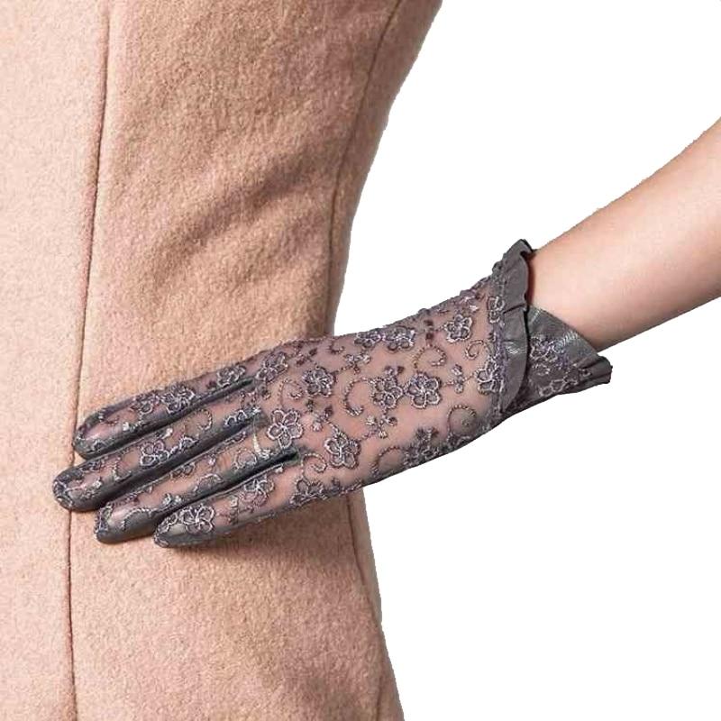 2019 Summer Touch-Screen Women Genuine Leather Gloves Ladies Elegant Lace Sun Gloves Female Black Driving Gloves Anti-UV S M L