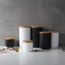 1 шт., Скандинавская керамическая кухонная бутылка для хранения, банка с герметичной деревянной крышкой, кухонная пищевая грубая крупа, конфета, кофе, зерен, чайный контейнер