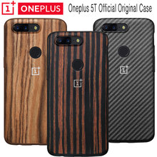 OnePlus 5T Case Official Original Ebony Wood Rosewood Karbon Full Protective Case One Plus 5T Bumper Case Back Cover Funda Coque