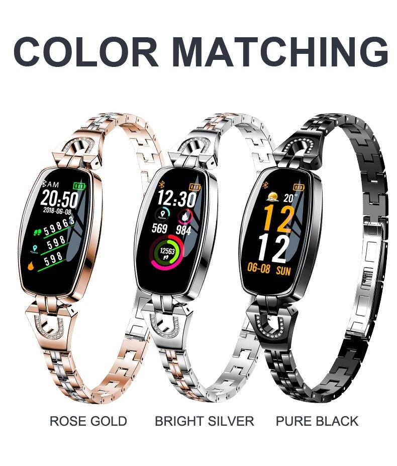 Для женщин цифровой Smartwatch новый роскошный H8 интеллектуальные наручные Водонепроницаемый Смарт Часы Heart Reat шагомер для iPhone Android