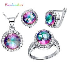 Rainbamabom 925 Sterling Silver Mystic Rainbow Topaz Gemstone Earrings Ring Necklace Women Cocktail Jewelry Set Gift Wholesale недорого