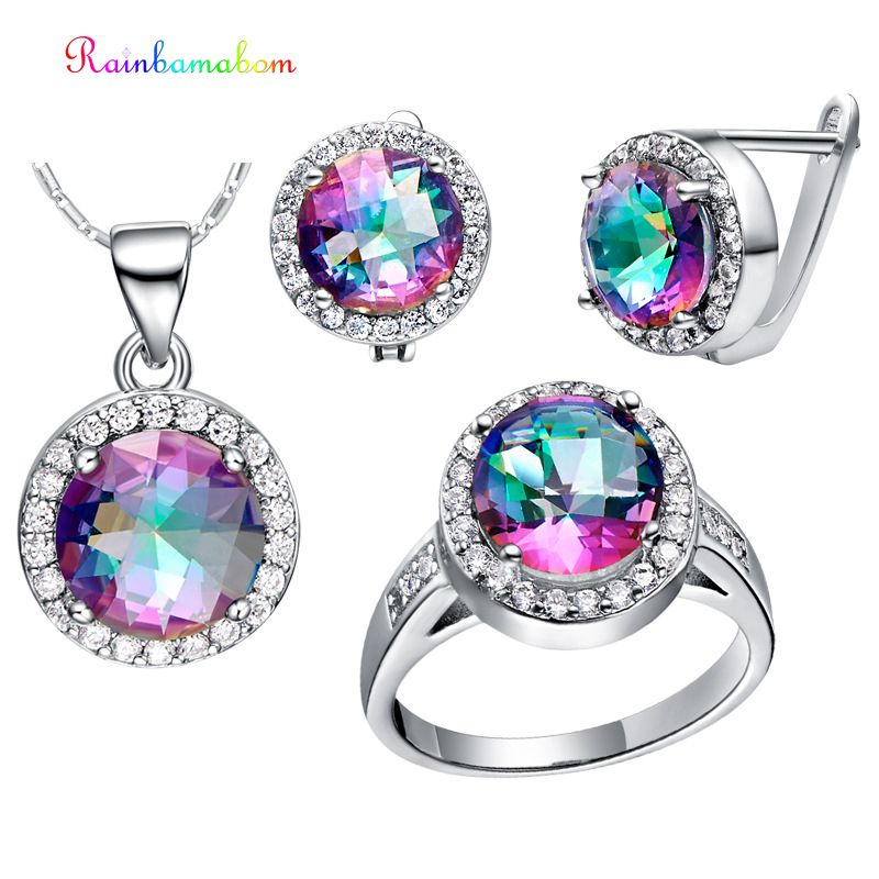 Rainbamabom 925 Sterling Silver Mystic Rainbow Topaz Gemstone Earrings Ring Necklace Women Cocktail Jewelry Set Gift Wholesale