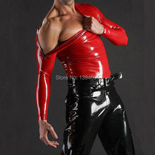 2016 new sex product sexy erotic lingerie Male Men red Latex shoulder zipper Shirts Blouse zentai fetish Uniform Costume Tops