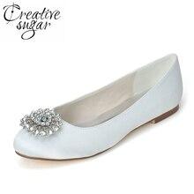 Creativesugar cristal strass broche femmes de appartements élégant de  mariage de bal banquet noble satin robe chaussures rose bl. 041f7b923316