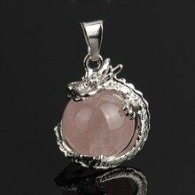 YYW Jewelry Women Real Natural Rose Stone 3D Dragon Pendant Round Ball Quartz Tiger Eye Malachite Stone Pendant for Neckalce