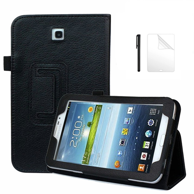 Flip Litchi Style Protective PU Leather Case for <font><b>Samsung</b></font> <font><b>Galaxy</b></font> <font><b>Tab</b></font> <font><b>3</b></font> 7.0 T210 <font><b>T211</b></font> Cover for <font><b>Samsung</b></font> P3200 7 inch case+Film+Pen image