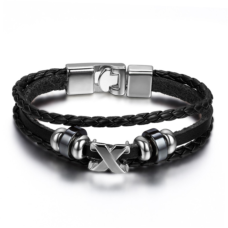 Men Leather Bracelet Jewelry 22cm Length Cool Fashion leather Braided Cross Charms Bracelets Bangles pulseiras masculinas