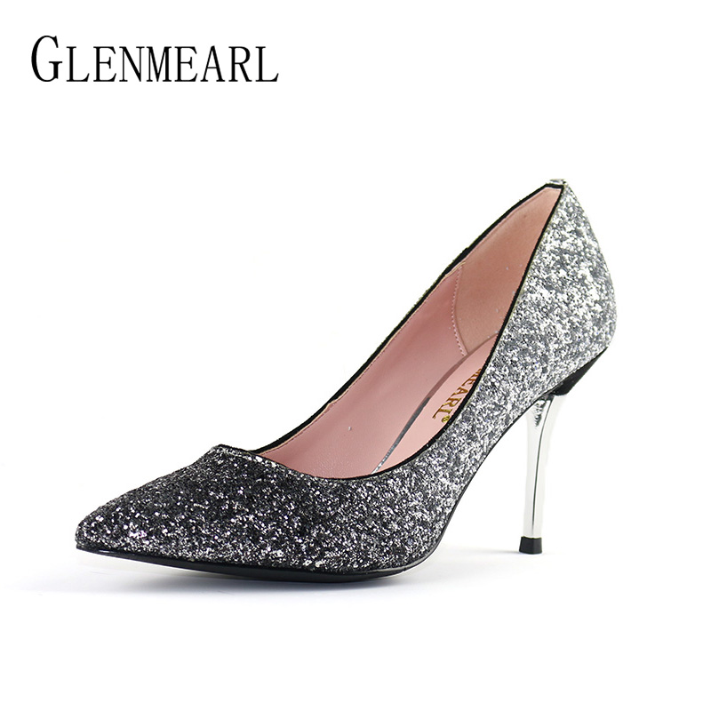 Brand Shoes Woman High Heels Women Pumps Bling Pointed Toe Thin Heel Party Shoes Female Spring Dress Women Shoes Free ShippingDO