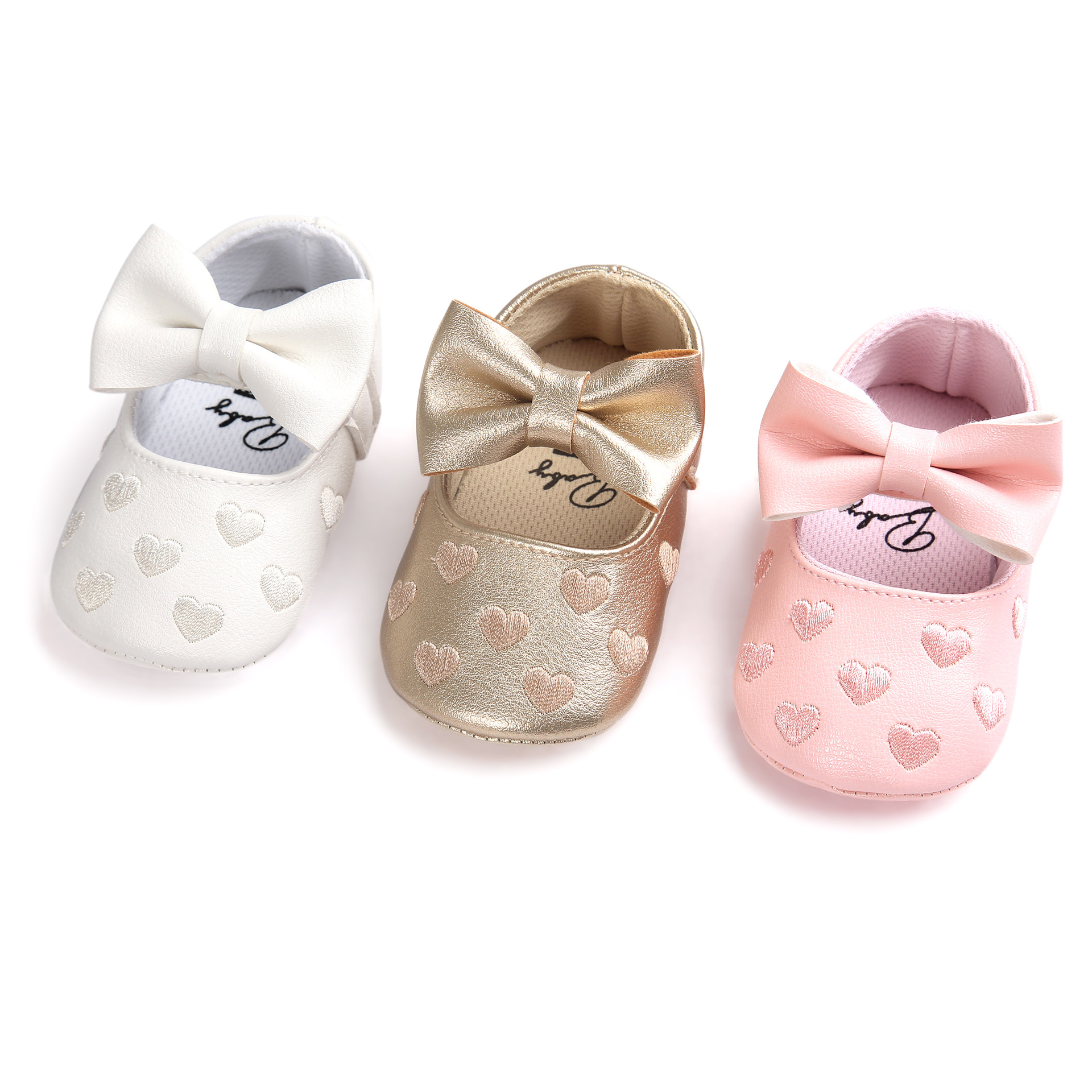 Cute Gold Pure White Mary Jane Moccasins For 0-18M Baby Soft Bottom First Walker Butterfly-knot Baby Shoes Prewalkers Boots