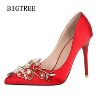 BIGTREE New Spring Summer Women Pumps Buckle Rhinestone Silk Satin High Heels Shoes Heeled Sexy Thin