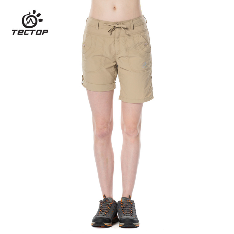 TECTOP PS6246 Summer Outdoor Quick Dry Shorts Sport Pants, Solid Elastic Polyester Women Pants