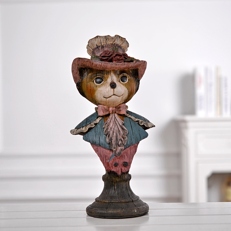 Retro Cats Lady Bust Figure Cartoon Animals Model Statue Resin Craftwork Americana Home Decoration L2423 artistic lady figure wall stickers home decoration