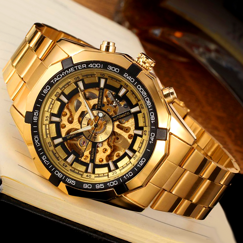 Men classic skeleton automatic mechanical watch gold skeleton vintage watches top brand luxury for Classic skeleton watch