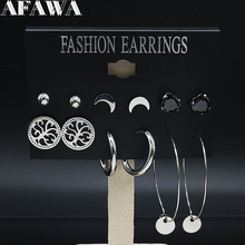 6 Pair 2019 Fashion Tree of Life Stainless Steel Earings Set Women Silver Color Set Earrings Jewelry pendientes mujer E612822 hollow tree of life stainless steel colorful earrings