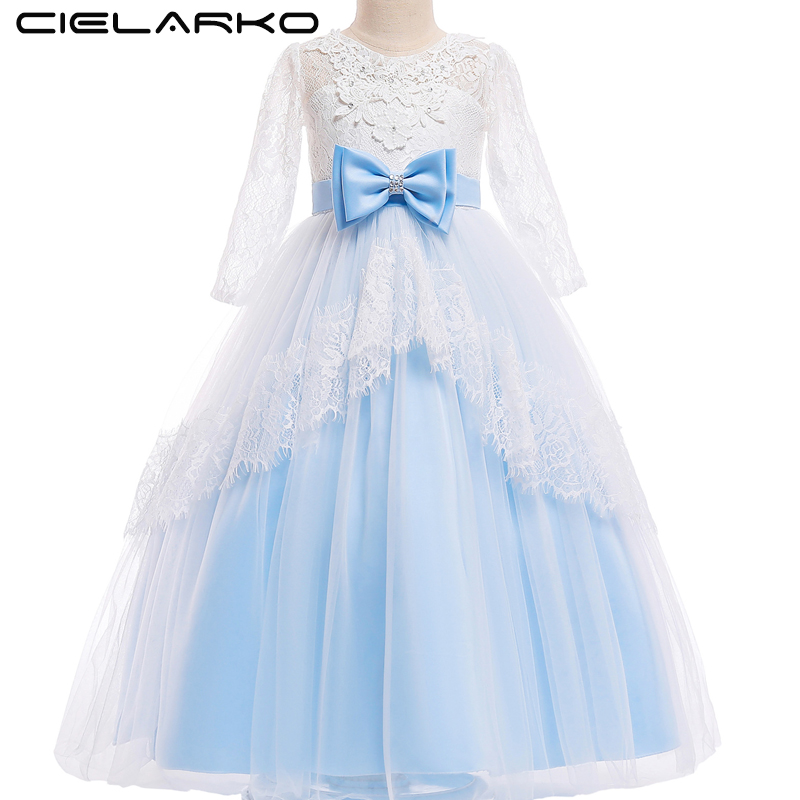 все цены на Cielarko Long Sleeve Girls Dress for Princess Lace Flower Kids Long Dresses Children Wedding Party Dress Formal Frock for Girl