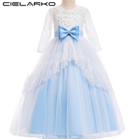 Cielarko Long Sleeve Girls Dress for Princess Lace Flower Kids Long Dresses Children Wedding Party Dress Formal Frock for Girl