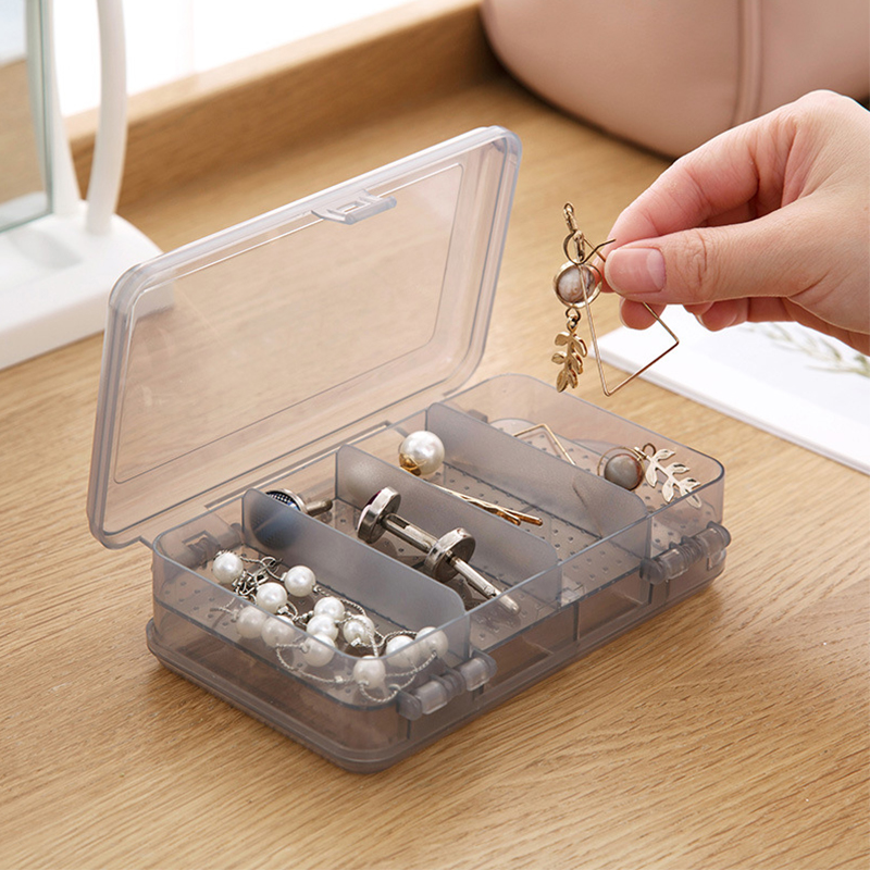 Double Layered Makeup Organizers Women Jewelry Cosmetics Holder Transparent Necklace Earrings Lipsticks Collection Storage Box