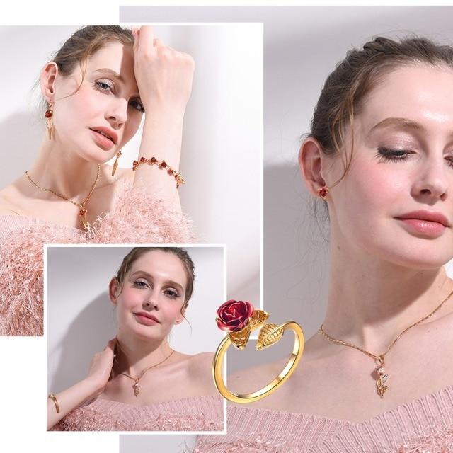 U7 Red Rose Garden Flower Leaves Resizable Finger Rings for Women Valentine's Day Gift 1