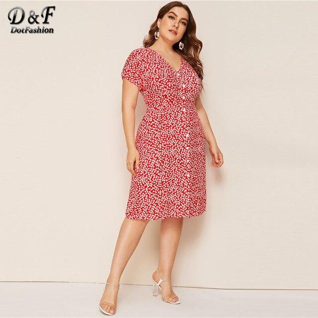 Dotfashion Plus Size V Neck Button Up A Line Dress Women 2019 Summer Short Sleeve Midi Dresses Ladies Floral Print Dress 3